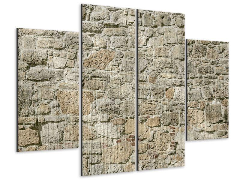 Metallic-Bild 4-teilig Naturmauer