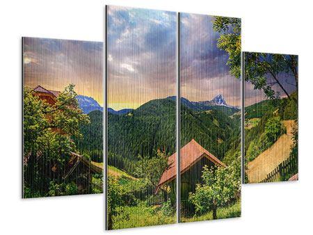 Metallic-Bild 4-teilig Schweizer Berge im Sommer