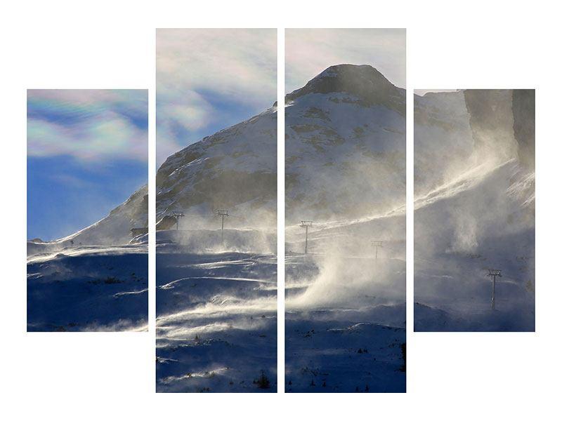 Metallic-Bild 4-teilig Mit Schneeverwehungen den Berg in Szene gesetzt
