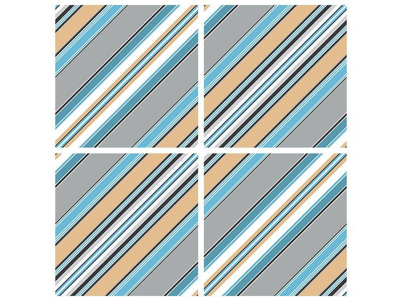 Metallic-Bild 4-teilig Farbstreifen