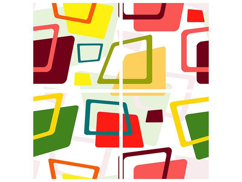 Metallic-Bild 4-teilig Rechtecke im Retrodesign
