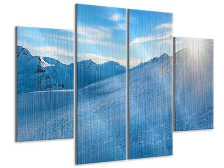 Metallic-Bild 4-teilig Sonnenaufgang in den Bergen