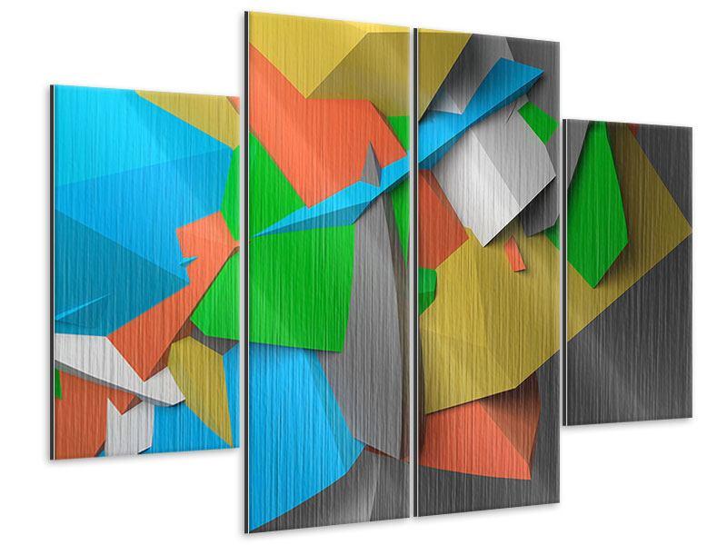 Metallic-Bild 4-teilig 3D-Geometrische Figuren