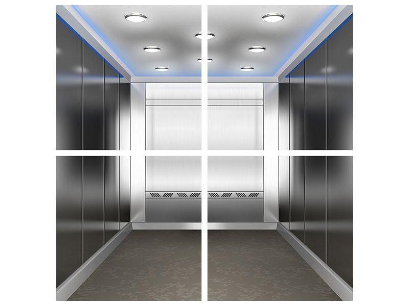Metallic-Bild 4-teilig Eleganter Aufzug