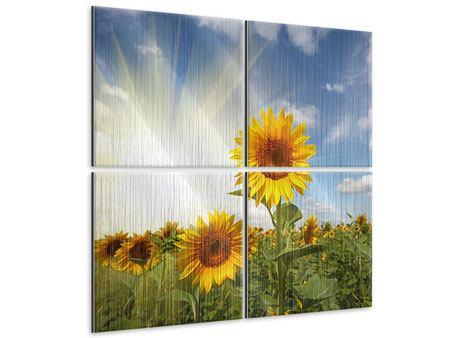 Metallic-Bild 4-teilig Sonnenblumen im Sonnenlicht