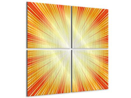 Metallic-Bild 4-teilig Abstrakte Retro Sonne