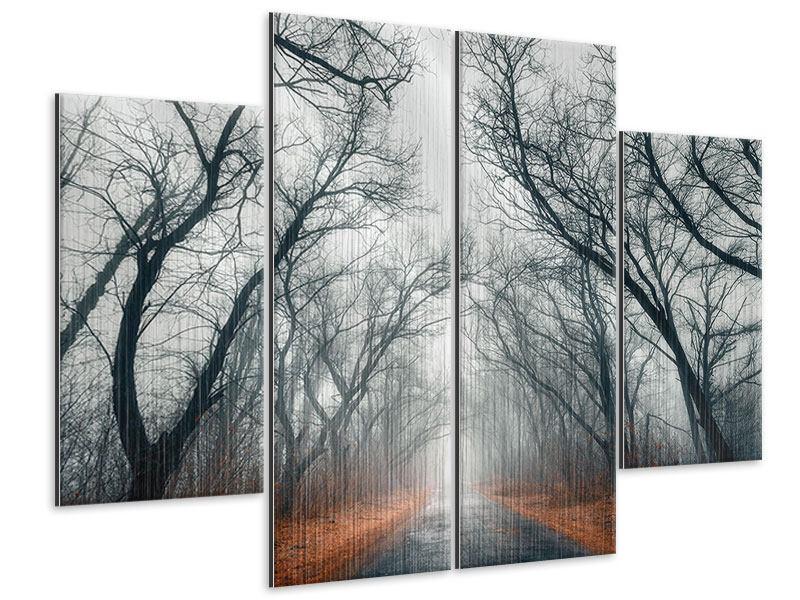 Metallic-Bild 4-teilig Mysteriöse Stimmung im Wald