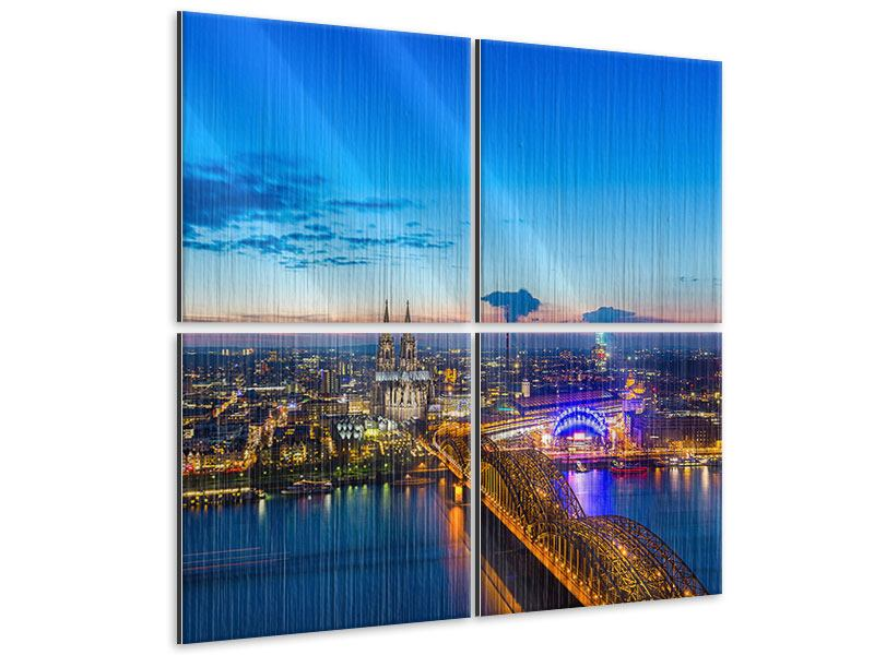 Metallic-Bild 4-teilig Skyline Ein Penthouse in Köln