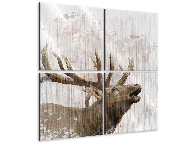 Metallic-Bild 4-teilig Elch-Gemälde