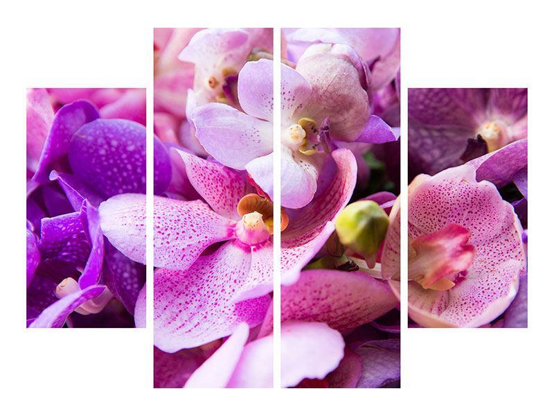 Metallic-Bild 4-teilig Im Orchideenparadies