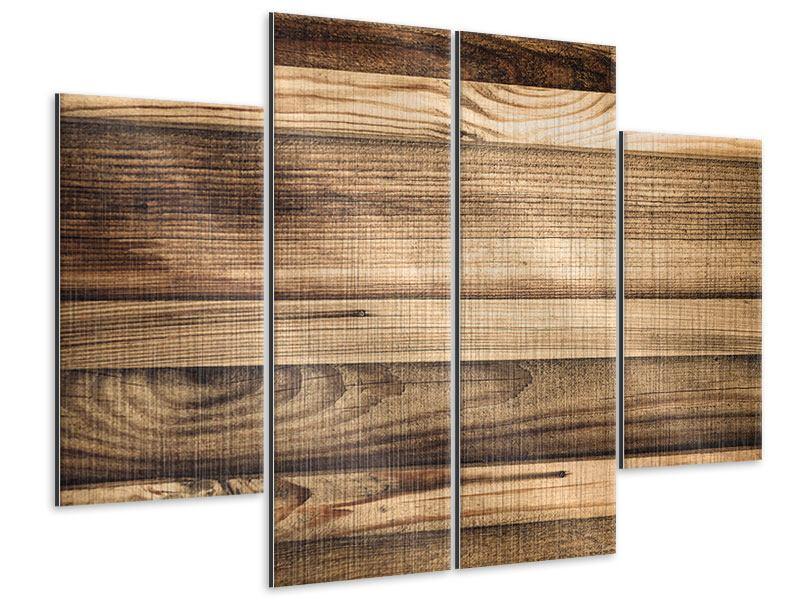 Metallic-Bild 4-teilig Holztrend
