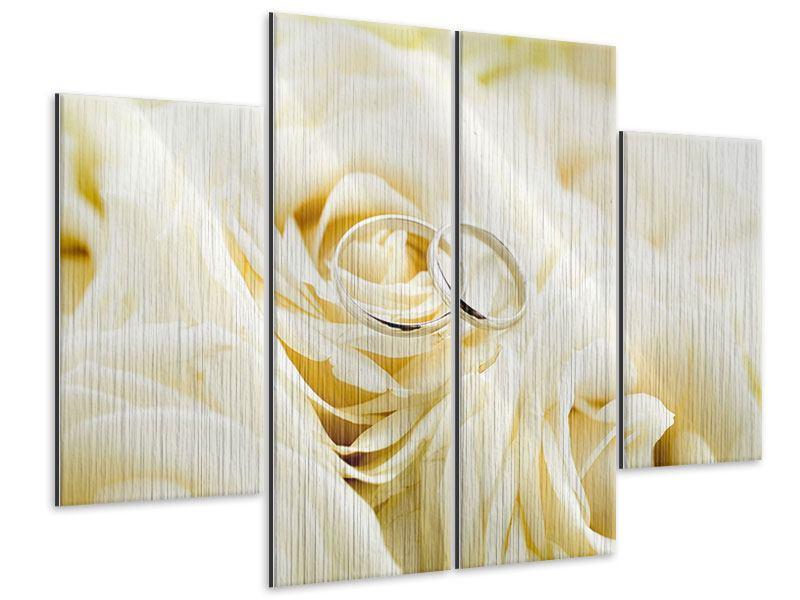 Metallic-Bild 4-teilig Trauringe auf Rosen gebettet