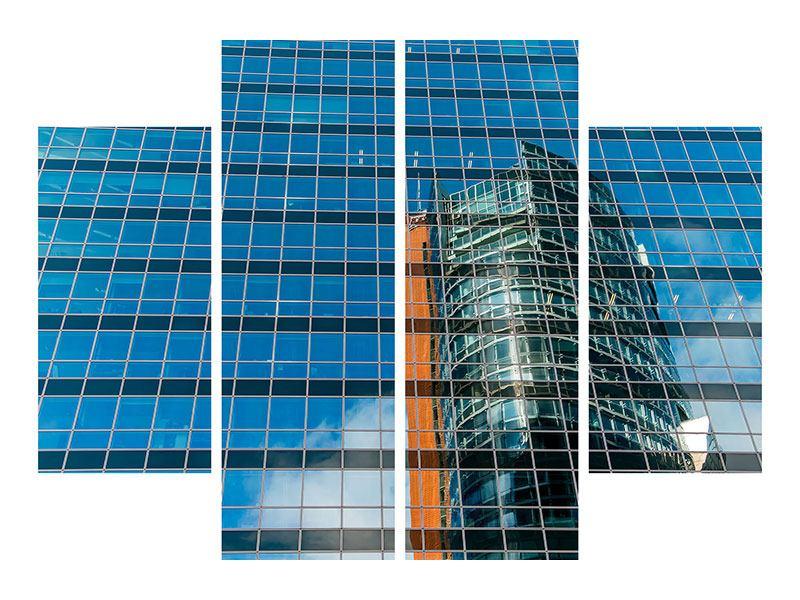 Metallic-Bild 4-teilig Wolkenkratzer-Spiegel