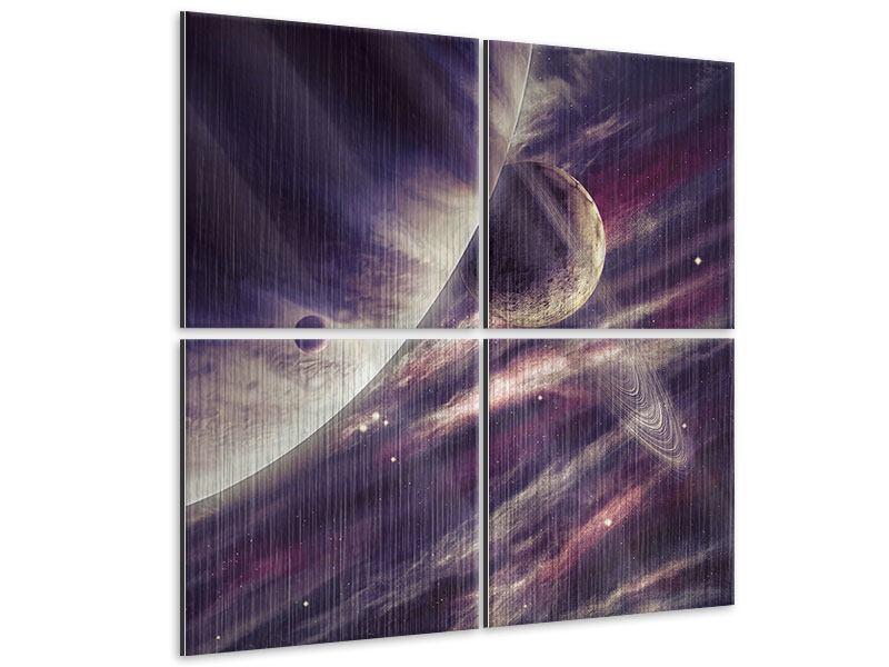 Metallic-Bild 4-teilig Weltraumreise