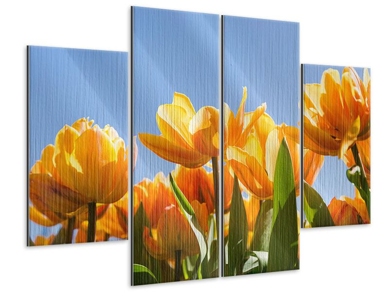 Metallic-Bild 4-teilig Märchenhafte Tulpen
