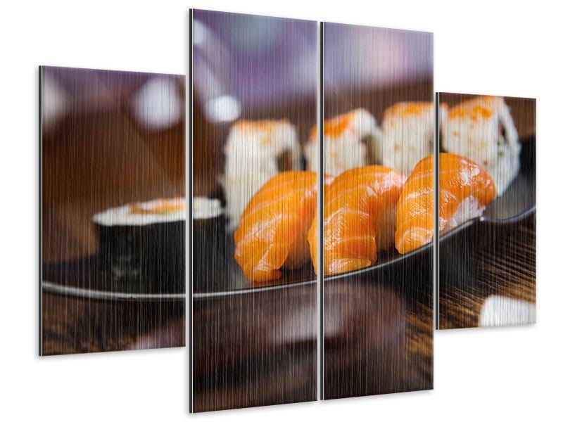Metallic-Bild 4-teilig Sushi-Gericht