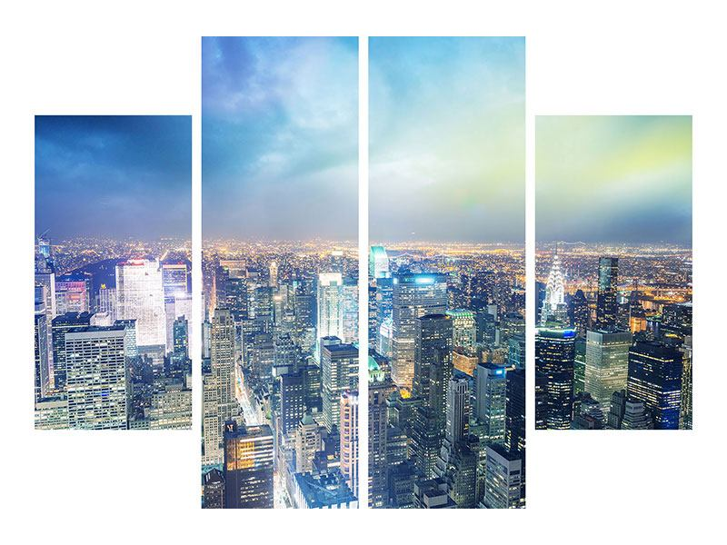 Metallic-Bild 4-teilig Skyline NY bei Sonnenuntergang