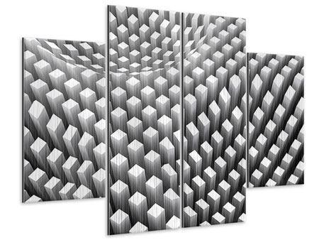 Metallic-Bild 4-teilig 3D-Rasterdesign