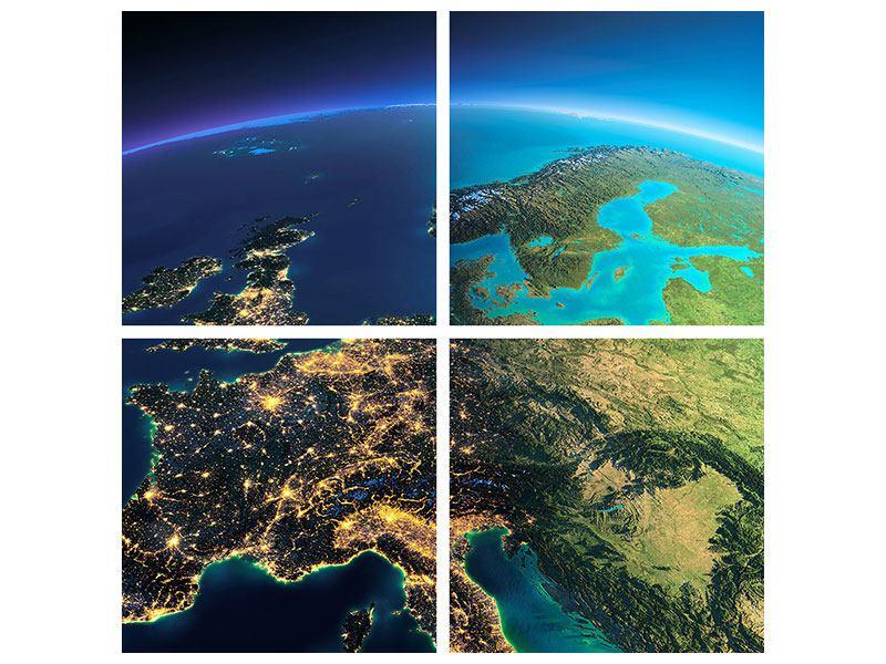 Metallic-Bild 4-teilig Close Up Planet Erde