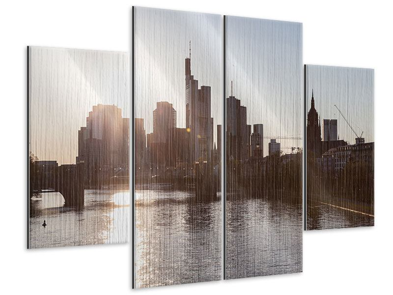 Metallic-Bild 4-teilig Skyline Sonnenaufgang bei Frankfurt am Main