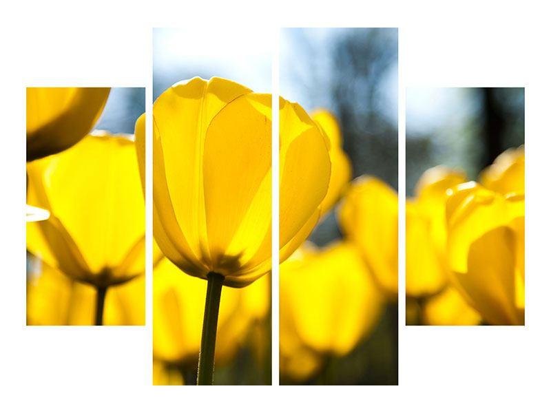 Metallic-Bild 4-teilig Gelbe Tulpen in XXL