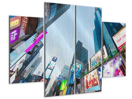 Metallic-Bild 4-teilig Shopping in NYC