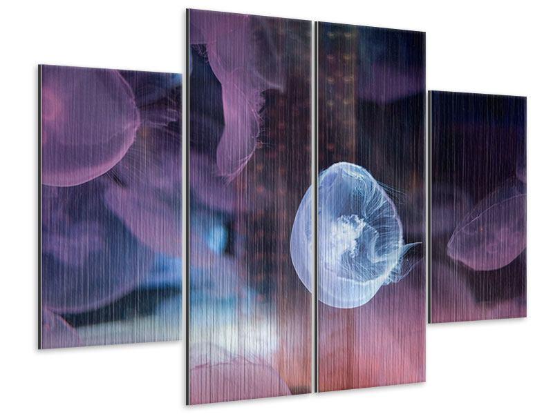 Metallic-Bild 4-teilig Die Schönheit der Quallen