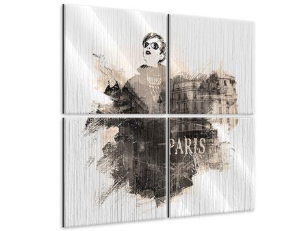 Metallic-Bild 4-teilig Pariser Modell