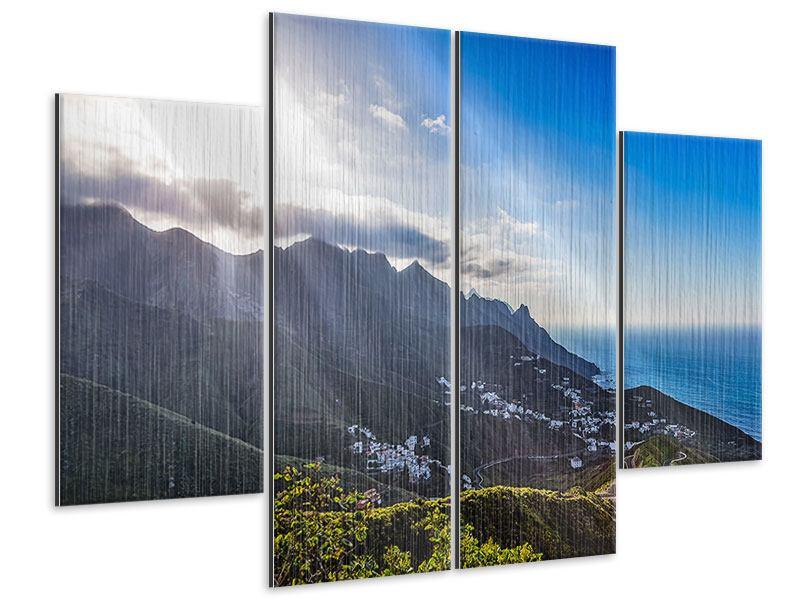 Metallic-Bild 4-teilig Der Frühling in den Bergen