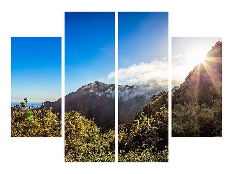 Metallic-Bild 4-teilig Berge am Meer