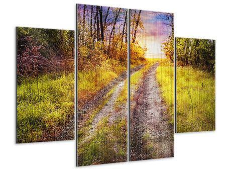 Metallic-Bild 4-teilig Der Waldpfad