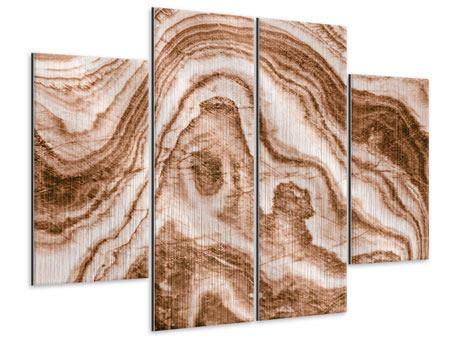 Metallic-Bild 4-teilig Marmor in Sepia