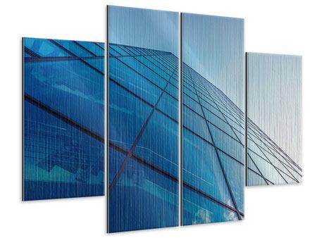 Metallic-Bild 4-teilig Wolkenkratzer-Highlight