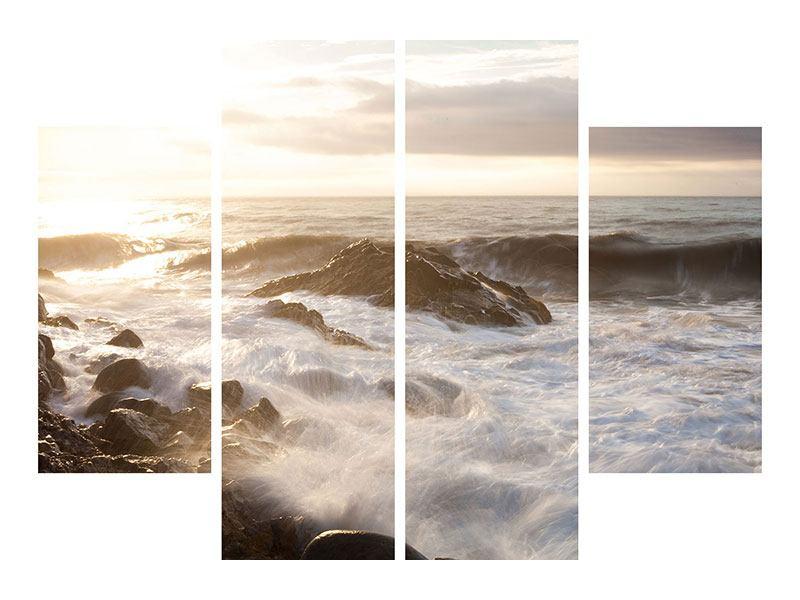 Metallic-Bild 4-teilig Meeresbrandung