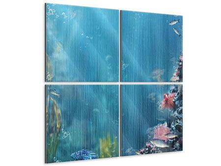 Metallic-Bild 4-teilig Unter Wasser