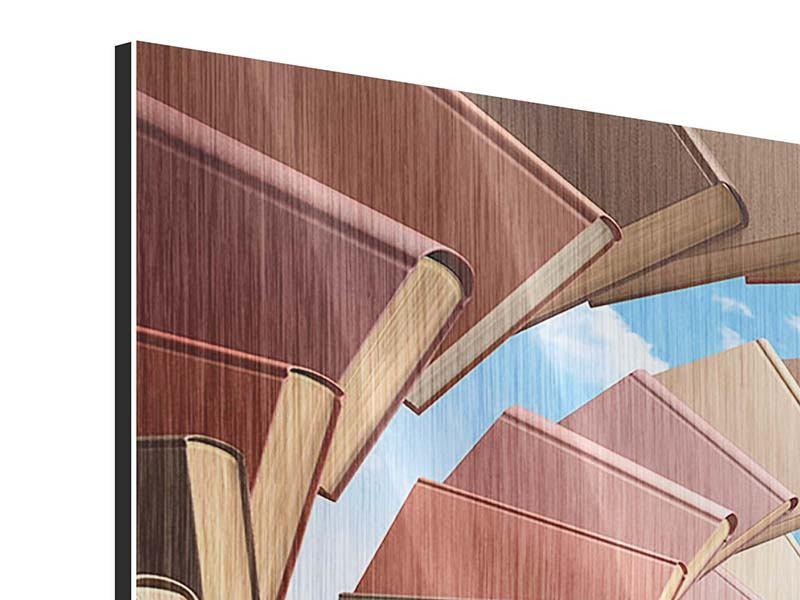Metallic-Bild 4-teilig Abstrakte Bücher-Wendeltreppe