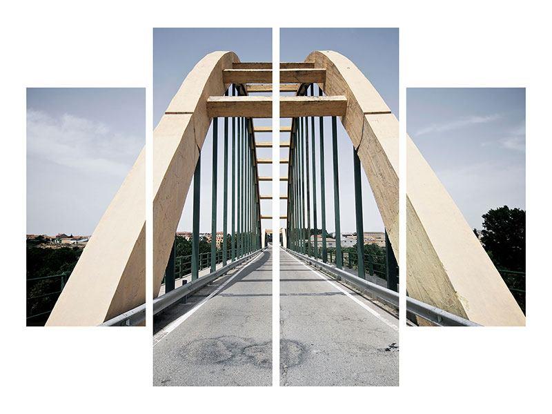 Metallic-Bild 4-teilig Imposante Hängebrücke