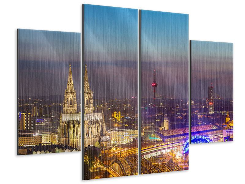 Metallic-Bild 4-teilig Skyline Kölner Dom bei Nacht