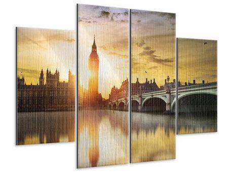 Metallic-Bild 4-teilig Skyline Big Ben im Sonnenuntergang