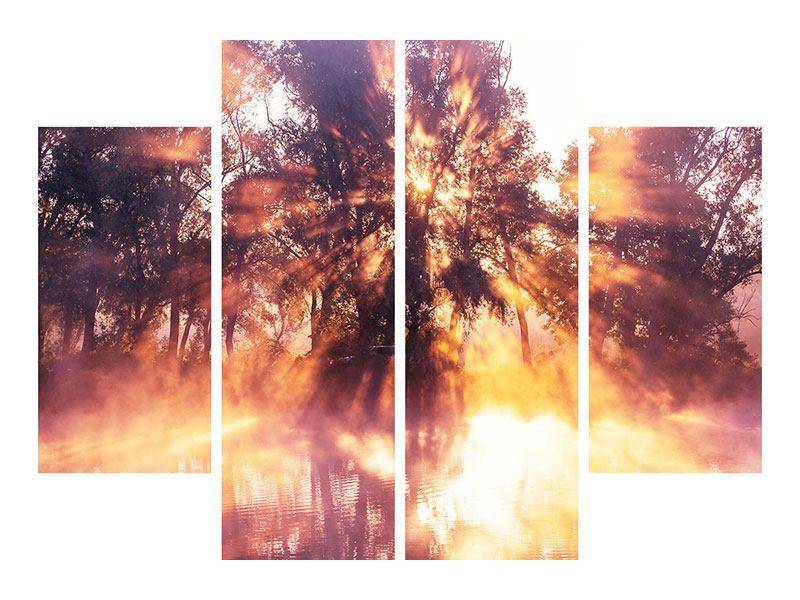 Metallic-Bild 4-teilig Die Waldspiegelung