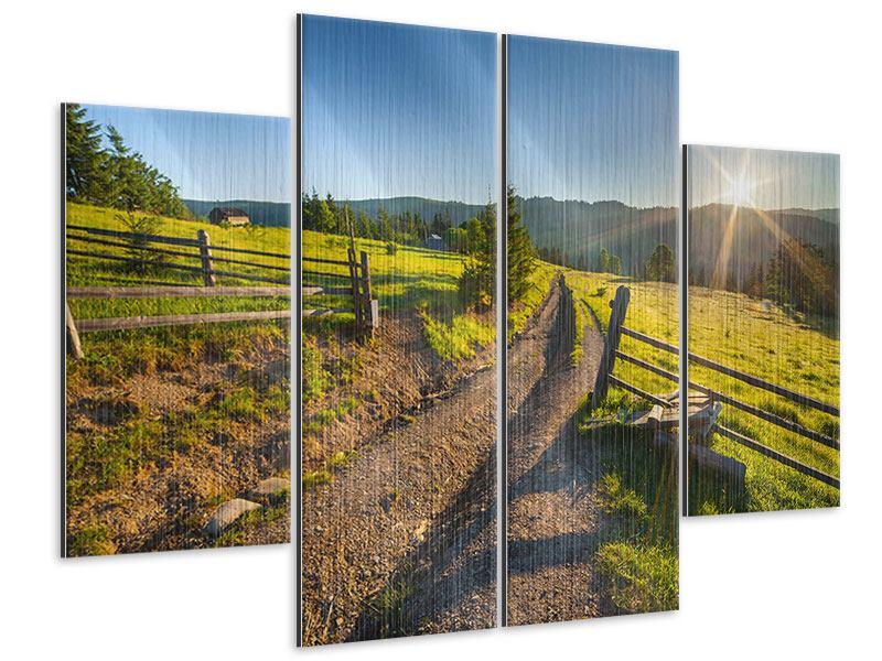 Metallic-Bild 4-teilig Sonnenaufgang am Berg