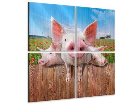 Metallic-Bild 4-teilig Schweinchen im Glück