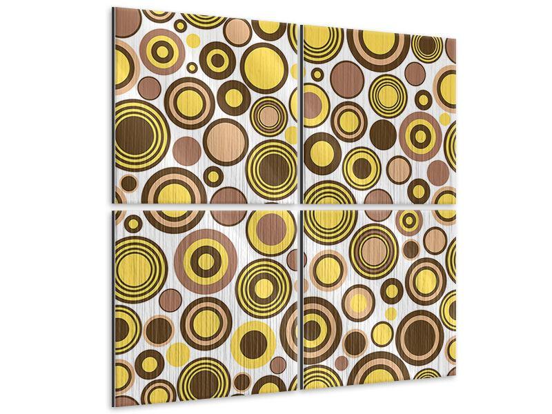Metallic-Bild 4-teilig Kreise im Retrodesign