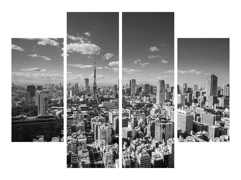 Metallic-Bild 4-teilig Tokio