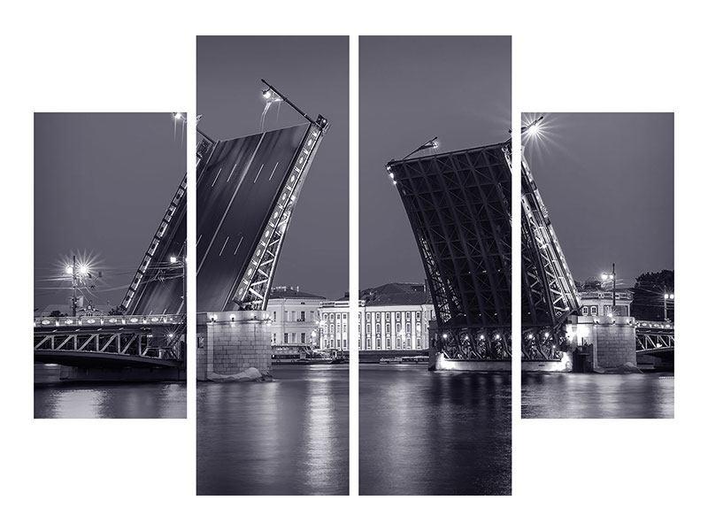 Metallic-Bild 4-teilig Klappbrücke bei Nacht