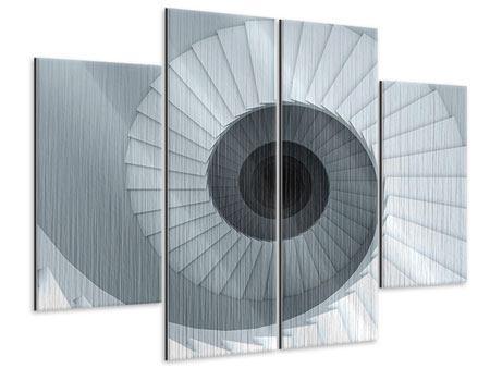 Metallic-Bild 4-teilig 3D Wendeltreppe