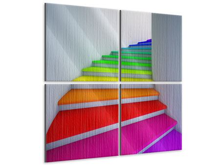 Metallic-Bild 4-teilig Bunte Treppe