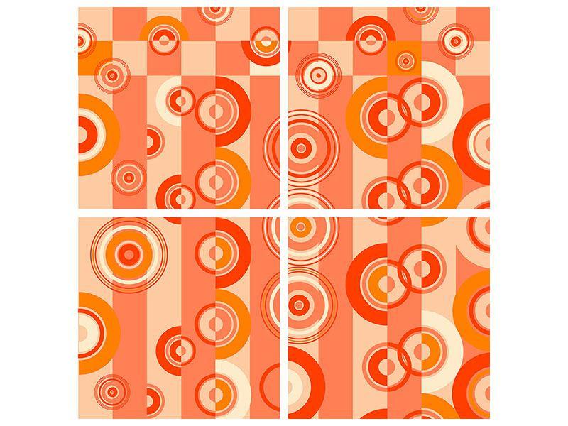 Metallic-Bild 4-teilig Bewegte Retro-Kreise