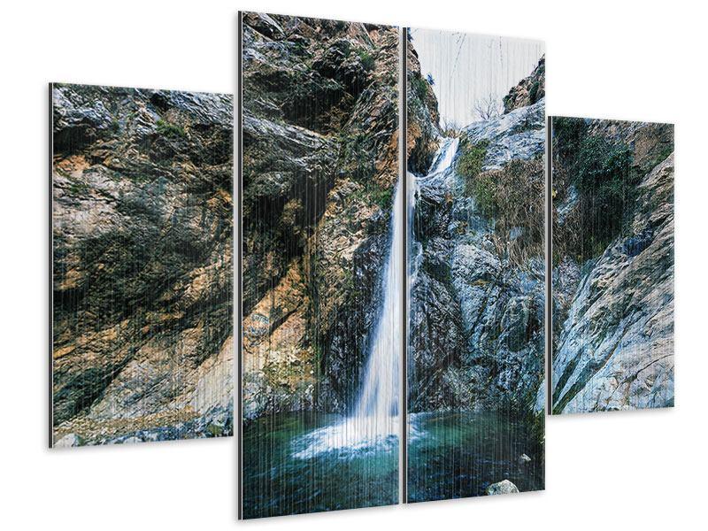 Metallic-Bild 4-teilig Bewegtes Wasser