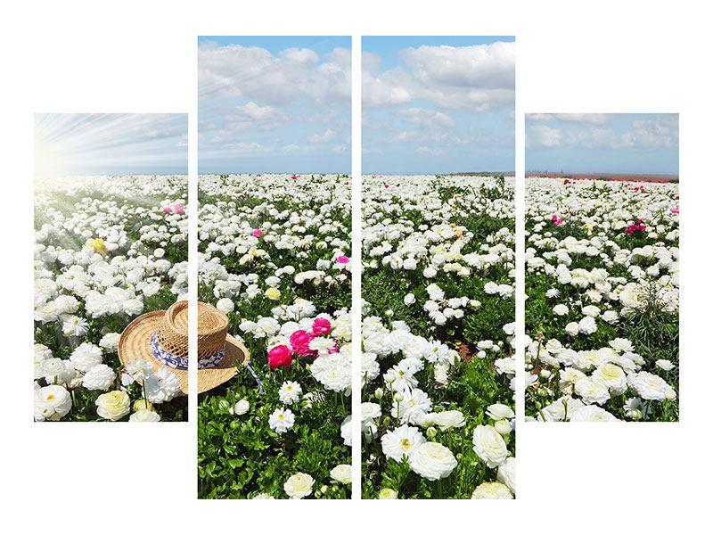 Metallic-Bild 4-teilig Die Frühlingsblumenwiese